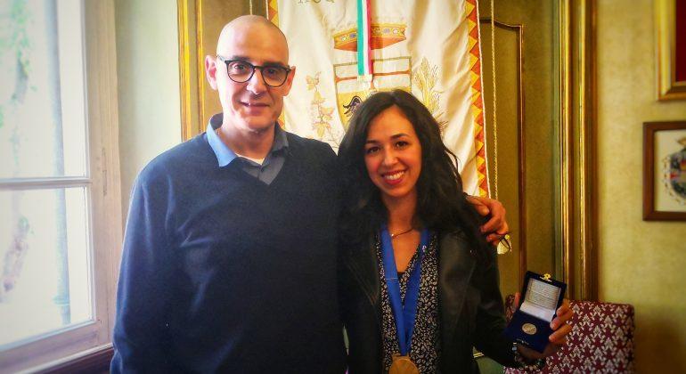 La pallavolista acquese Letizia Camera, vincitrice della Champions League di volley femminile, ricevuta dal sindaco Lucchini