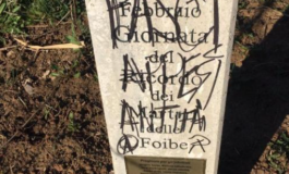 Sfregiata una stele dedicata ai martiri delle Foibe