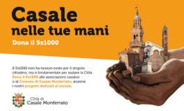 """Dalla Città di Casale Mto: """"Casale nelle tue mani, dona il 5x1000"""""""